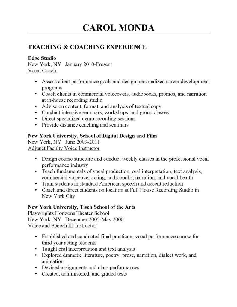 carol monda coaching resume