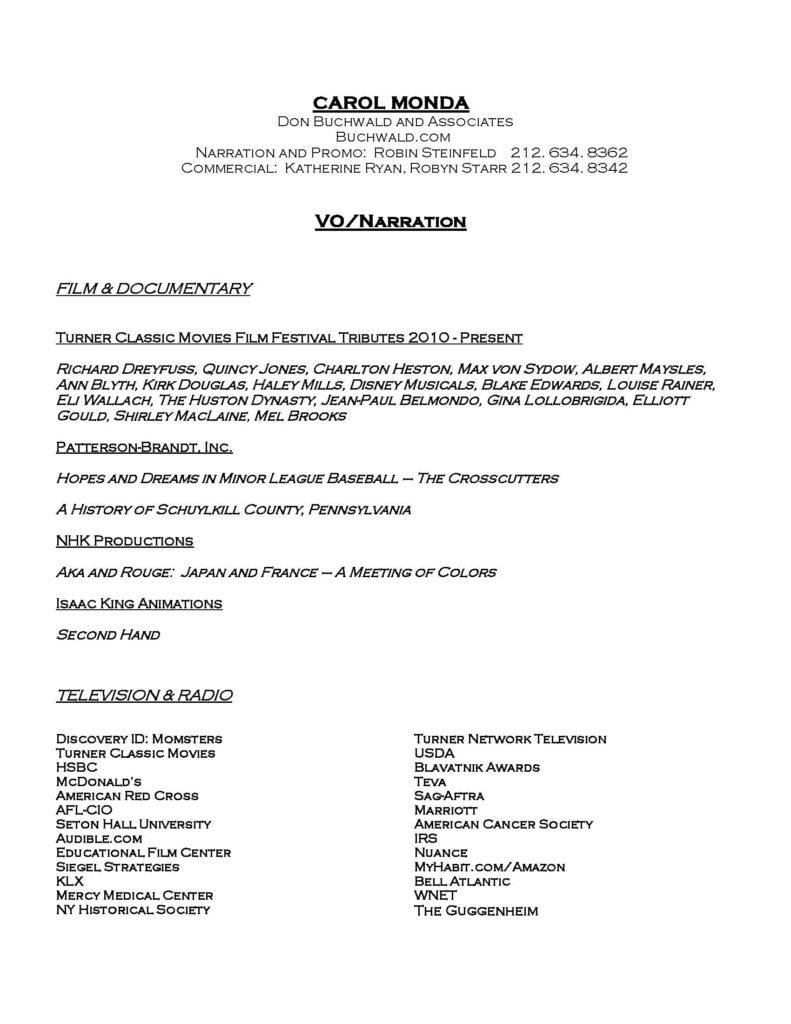 carol monda voiceover resume